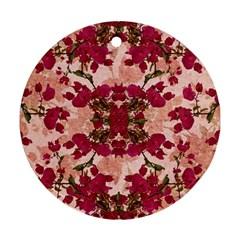 Retro Vintage Floral Motif Round Ornament