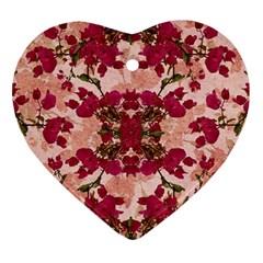 Retro Vintage Floral Motif Heart Ornament