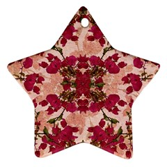 Retro Vintage Floral Motif Star Ornament