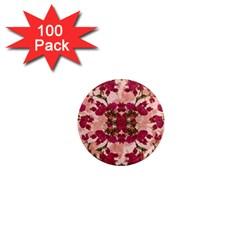 Retro Vintage Floral Motif 1  Mini Button Magnet (100 pack)