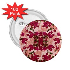 Retro Vintage Floral Motif 2 25  Button (100 Pack)