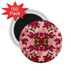Retro Vintage Floral Motif 2.25  Button Magnet (100 pack)