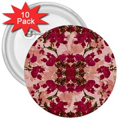 Retro Vintage Floral Motif 3  Button (10 pack)