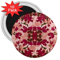 Retro Vintage Floral Motif 3  Button Magnet (10 Pack)