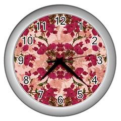 Retro Vintage Floral Motif Wall Clock (silver)