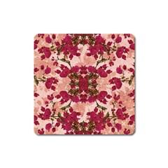 Retro Vintage Floral Motif Magnet (Square)
