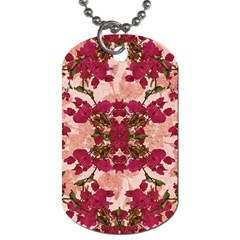 Retro Vintage Floral Motif Dog Tag (Two-sided)