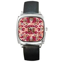 Retro Vintage Floral Motif Square Leather Watch