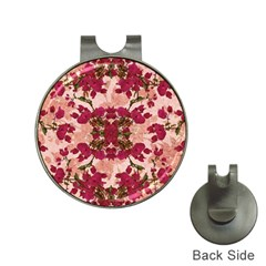 Retro Vintage Floral Motif Hat Clip with Golf Ball Marker