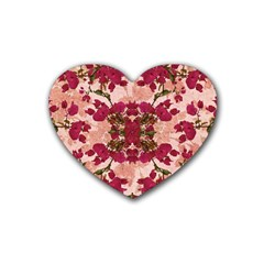 Retro Vintage Floral Motif Drink Coasters 4 Pack (heart)