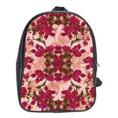 Retro Vintage Floral Motif School Bag (xl)
