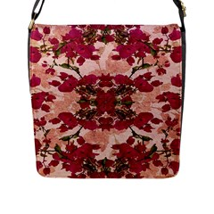 Retro Vintage Floral Motif Flap Closure Messenger Bag (Large)