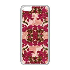 Retro Vintage Floral Motif Apple iPhone 5C Seamless Case (White)