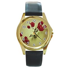 Santa Rita Flower in Warm Colors Wall Photo Round Gold Metal Watch