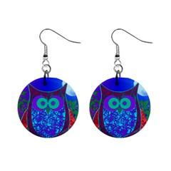 Moon Owl Mini Button Earrings