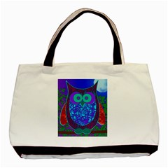 Moon Owl Twin Sided Black Tote Bag