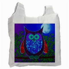 Moon Owl White Reusable Bag (One Side)