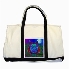 Moon Owl  Two Toned Tote Bag