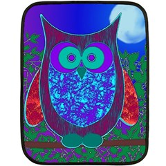 Moon Owl  Mini Fleece Blanket (Two Sided)