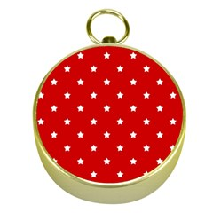 White Stars On Red Gold Compass