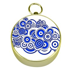 Trippy Blue Swirls Gold Compass