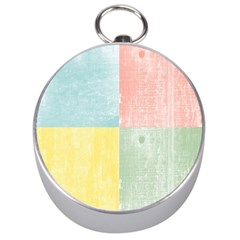 Pastel Textured Squares Silver Compass