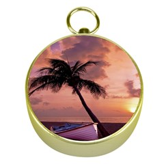 Sunset At The Beach Gold Compass