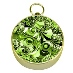 Retro Green Abstract Gold Compass