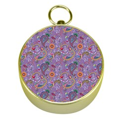 Purple Paisley Gold Compass