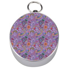 Purple Paisley Silver Compass