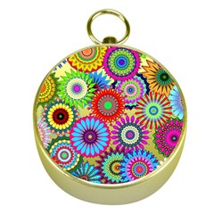 Psychedelic Flowers Gold Compass