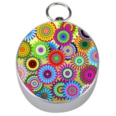 Psychedelic Flowers Silver Compass