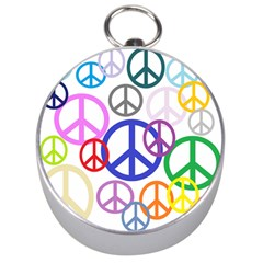 Peace Sign Collage  Silver Compass