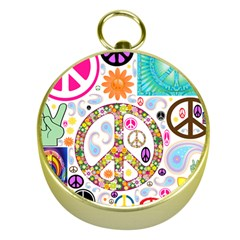 Peace Collage Gold Compass