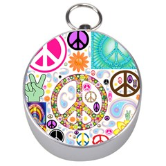 Peace Collage Silver Compass
