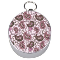Paisley In Pink Silver Compass