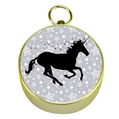 Unicorn On Starry Background Gold Compass