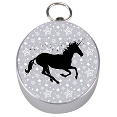 Unicorn on Starry Background Silver Compass