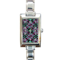 Floral Arabesque Pattern Rectangular Italian Charm Watch
