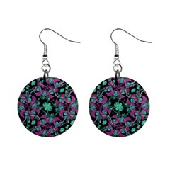 Floral Arabesque Pattern Mini Button Earrings