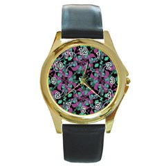 Floral Arabesque Pattern Round Leather Watch (gold Rim)