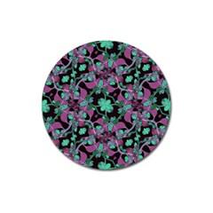 Floral Arabesque Pattern Magnet 3  (round)