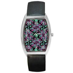 Floral Arabesque Pattern Tonneau Leather Watch