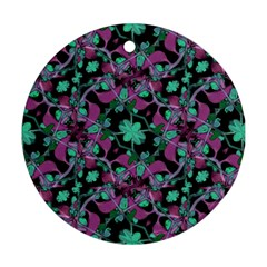 Floral Arabesque Pattern Round Ornament (Two Sides)