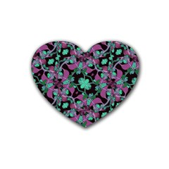 Floral Arabesque Pattern Drink Coasters 4 Pack (heart)