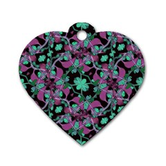 Floral Arabesque Pattern Dog Tag Heart (Two Sided)