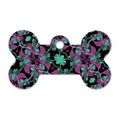 Floral Arabesque Pattern Dog Tag Bone (One Sided)