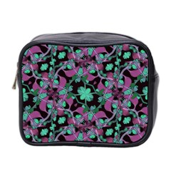 Floral Arabesque Pattern Mini Travel Toiletry Bag (two Sides)