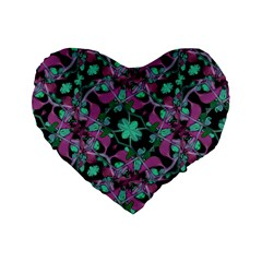 Floral Arabesque Pattern 16  Premium Heart Shape Cushion