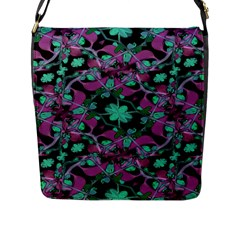 Floral Arabesque Pattern Flap Closure Messenger Bag (Large)
